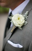 Double Lisianthus with Dusty Miller Buttonhole