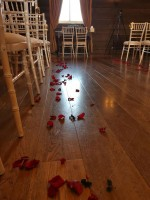 Scattered fresh rose petals, ready for ceremony - The White Hart Hotel, Great Yeldham