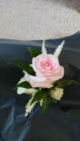 Rose Buttonhole with Astilbe and Foliage