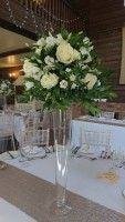 Tall tapered vase with white flowers and foliage – The White Hart Hotel, Great Yeldham