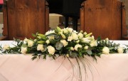 Top Table Arrangement, just White flowers and Foliage