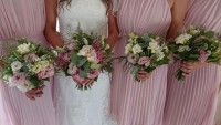 Bridal and Bridesmaids mixture of pinks in a Handtied Bouquet - The White Hart Hotel, Great Yeldham