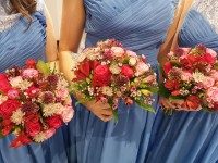 Hot Pinks and Purples Handtied Bouquets for the Bridesmaids - The Warren Estate, Woodham Walter, Maldon