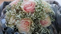 Simple Gypsophila and Pink Roses in a Handtied - The White Hart Hotel, Great Yeldham