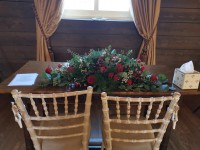 Ceremony Table Arrangement, Red, wild and rustic – The White Hart Hotel, Great Yeldham
