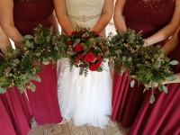 Bride and Bridesmaids, Reds, Rustic and Wild Bouquets - The White Hart Hotel, Great Yeldham